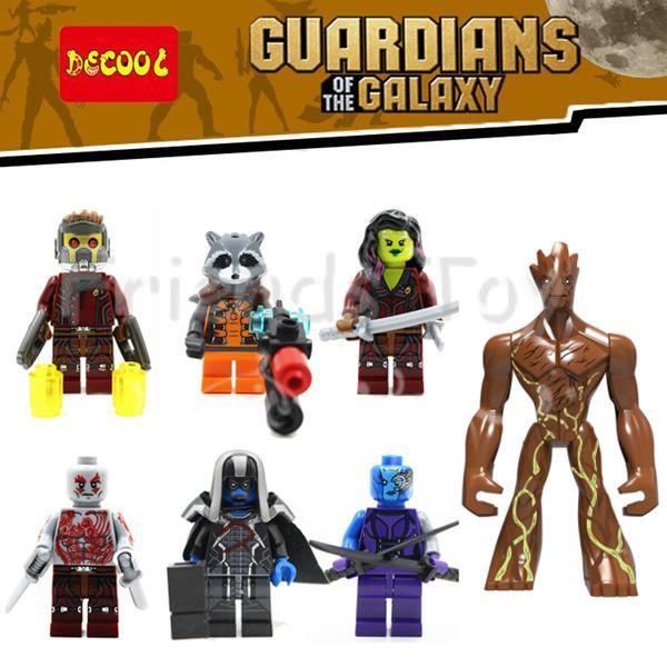 7pcs Guardians Of The Galaxy Big Figure Groot Rocket Marvel Movie Super Heroes Building Blocks Bricks Toys  Compatible With Lego new funko pop guardians of the galaxy tree people groot