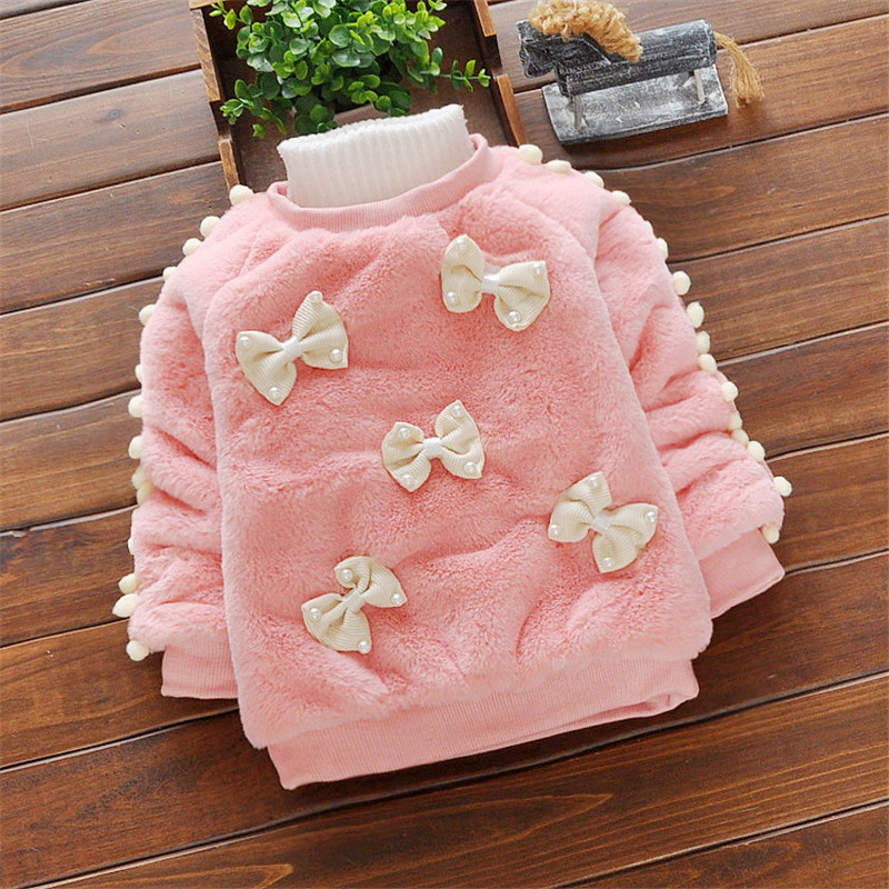 BibiCola Baby Girl Sweater Winter Dzieci Bebe Cartoon Bow Swetry Kids Girls Z długim rękawem Casual zagęścić ciepłe koszule Swetry
