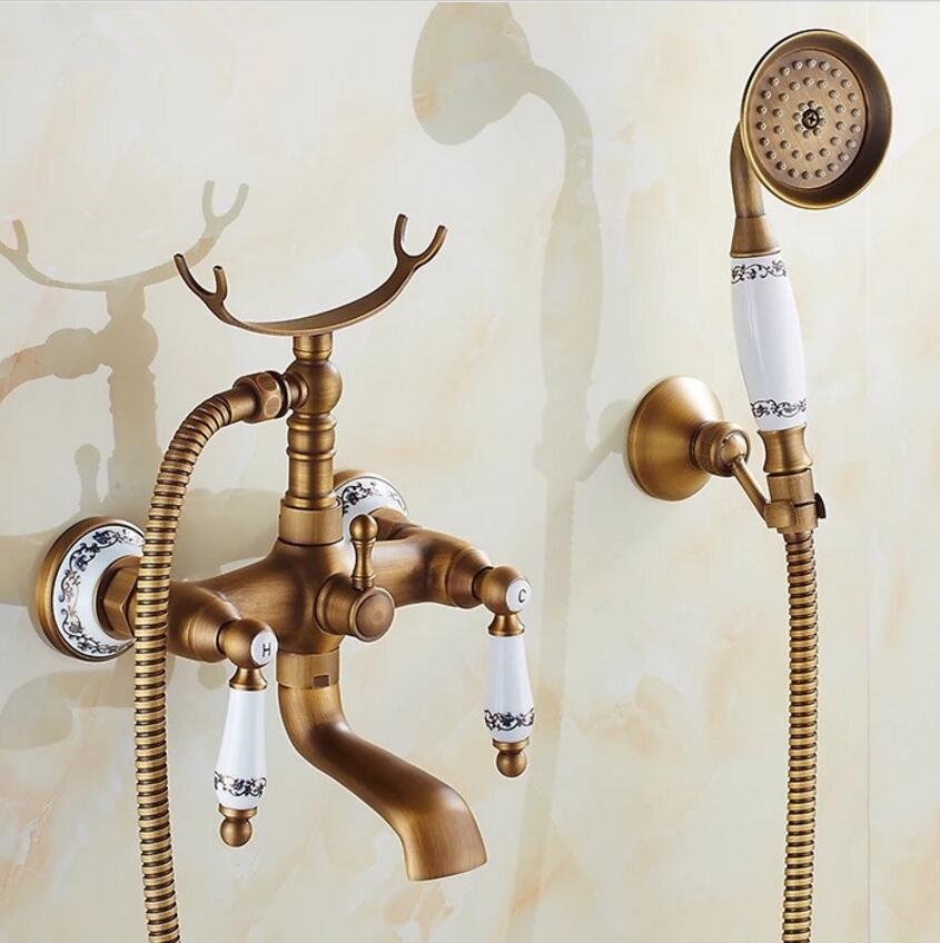 European style antique copper ceramic rain shower faucet water shower telephones ceramic shower with wall hanger