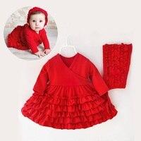 Bé gái dress đặt dài tay áo kids dresses for girls quần áo trẻ em quần áo kids quần áo mùa đông đảng nova cô gái dress 3-9 M