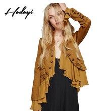 Hodoyi Women Jacket Solid Romantic Frills Long Sleeve Bomber Jacket Streetwear Elegant Casual Cardigans Outwear Short Coat
