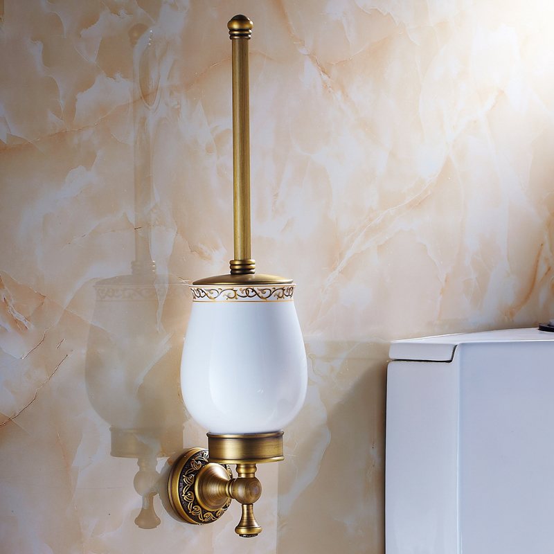 Free Shipping European Style Antique Brass Toilet Brush Holder Wall Mounted Bathroom Brush Holder Set Bathroom Accessories