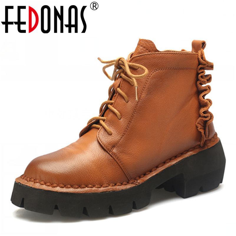 FEDONAS Retro Women Genuine Leather Ankle Winter Boots High Heeled Lace-up Autumn Winter Shoes Woman Platforms Martin Boots z suo brand new winter women motocycle boots leather lace up ankle martin boots shoes black brown high quality