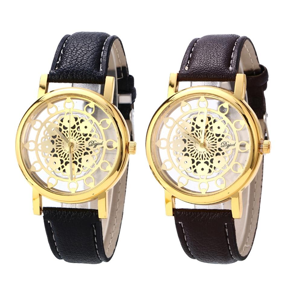 627e294dbaf Relógios de pulso Para Mulheres Dos Homens Escavar Mostrador do Relógio  Pulseira de Couro Fivela Roman Relógio de Pulso de Quartzo Relogios  Masculino ...
