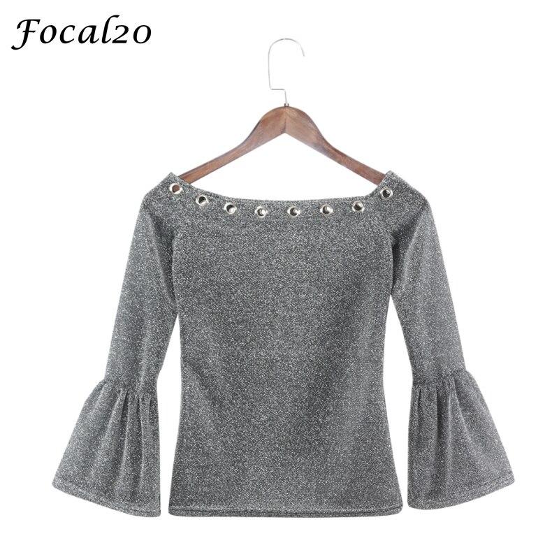 Focal20 весенние пикантные Для женщин Блёстки футболка с длинным рукавом Slash Средства ухода за кожей шеи с открытыми плечами цвет серебристый, ...