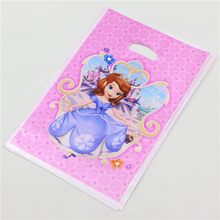 10pcs Happy Sofia Princess Kids Girls Birthday Party Decoration Supplies Baby Shower Favors Plastic Loot Bag Return Gift Bags