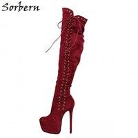 Sorbern Wine Red Warm Boots High Heels Booties For Women Platform Runway Shoes Luxury Brand Shoes