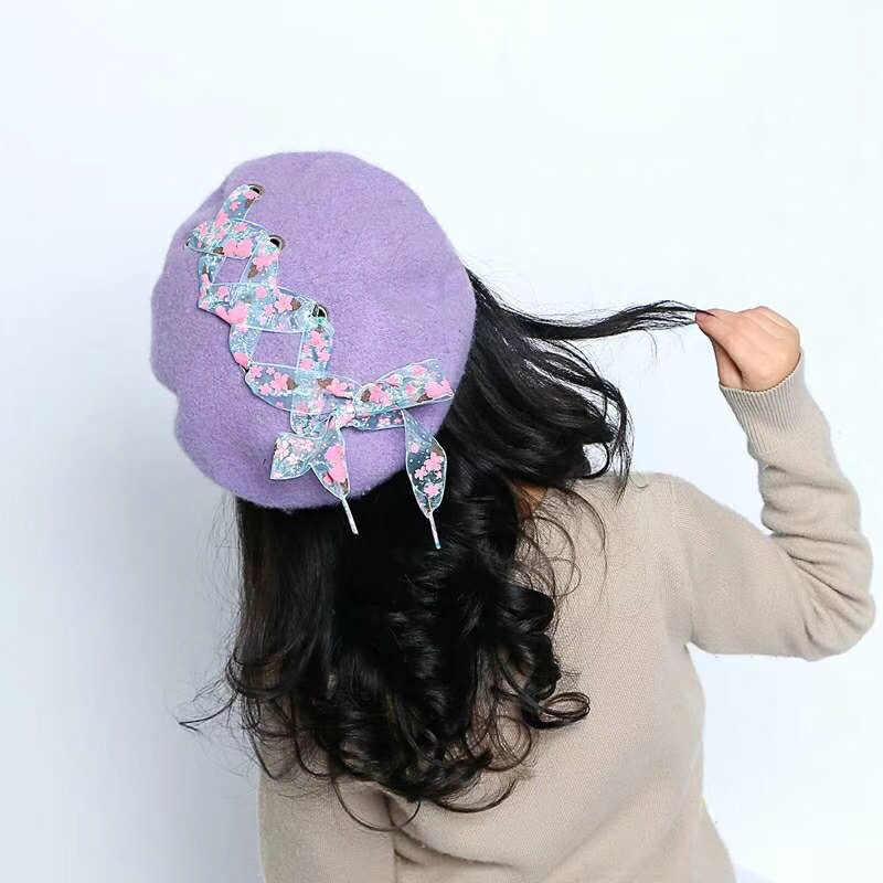 Laurashow удивительная детская зимняя лентами для девочек берет шапка Кепка милая детская теплая шапка зимняя Кепки подарок берет головной убор в французском стиле F161