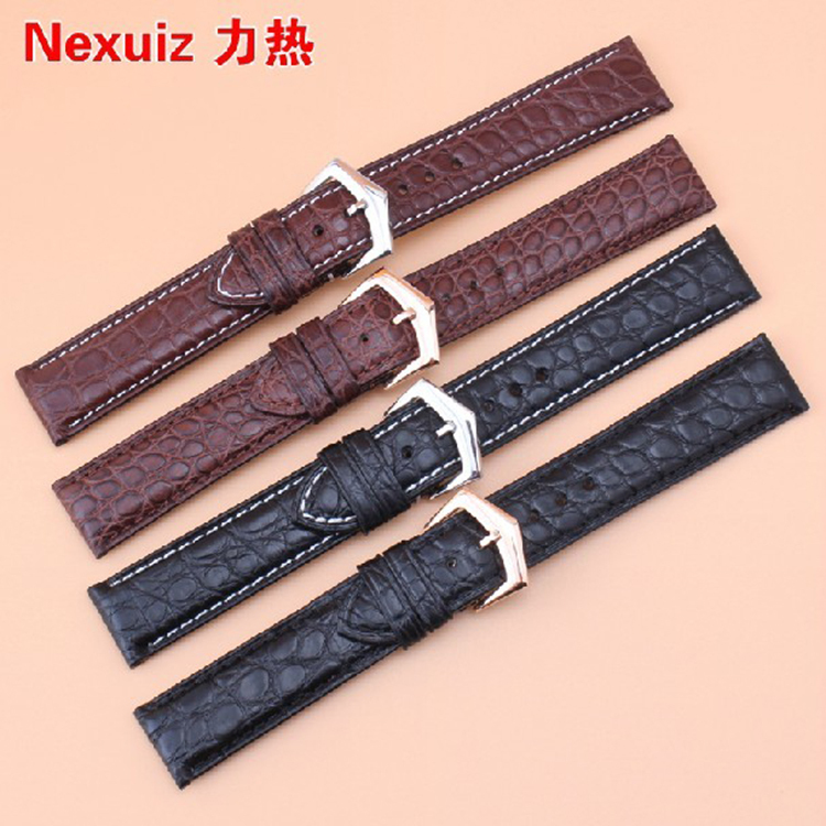 19mmCrocodile leather+Italy Calf Skin Genuine Leather Watch Strap Watchband For brand common With Deployment Clasp Free shipipng