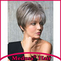 Medusa hair products: Chic pixie cut styles Synthetic pastel wigs for women Short straight Sandy Silver wig with bangs  SW0137B