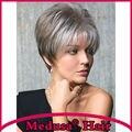 Medusa produtos para o cabelo: Chic pixie corte estilos pastel Sintético perucas para mulheres peruca com franja reta Curta Prata Areia SW0137B