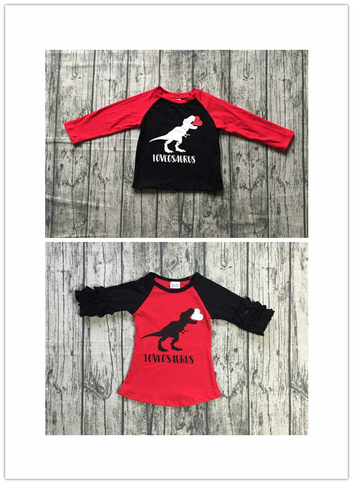 3b6cfdbb7 Detail Feedback Questions about girls and boys Fall raglans children girls  lovesaurus print top tee girls and boys kids wear top clothing red sleeve  raglans ...