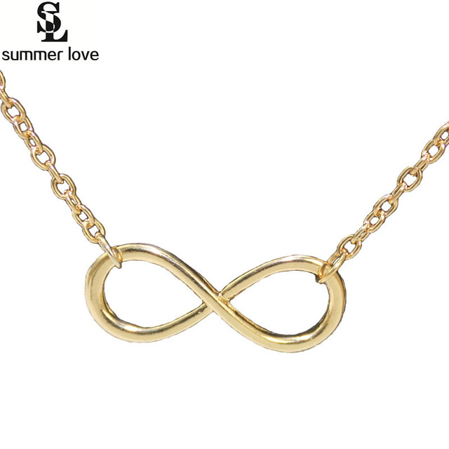 Simple geometric jewellery lucky 8 infinity pendant necklace for women silver gold color clavicle necklace collar jewelry