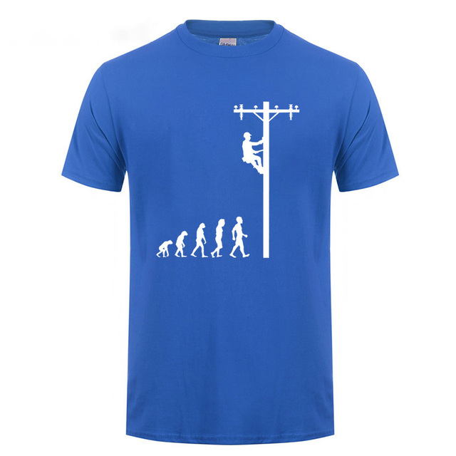 Evolution Of Lineman T Shirt Funny Birthday Gift For Electrician Men Dad Papa Father Husband Short Sleeve O Neck Cotton