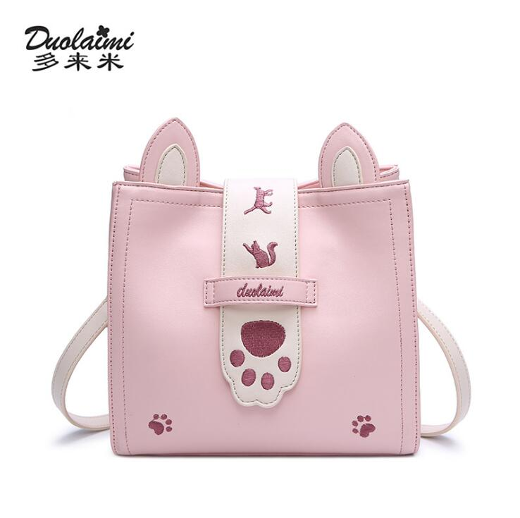 DuoLaiMi Bags For Women 2018 Pink Crossbody Bag Embroidery bolsa feminina PU Animal Lady Cartoon Women