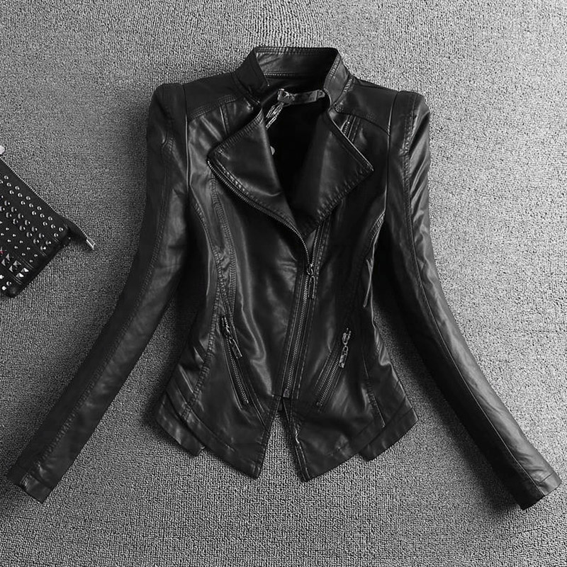 New slim body collar small   leather   jacket women short   leather   coat woman black spring and autumn motorcycle jacket