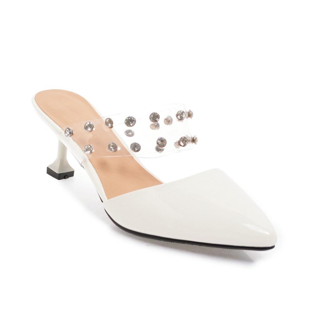 Pointu Bout Fait Sexy Haute argent blanc Rouge Esrfiyfe Pantoufles Chaussures Femmes 2018 Mules Femme Main Mince Diapositives Talons Noir D'été rose rouge TFK1lcJ