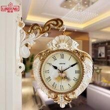 Европейские гостиная любовь Двухсторонние настенные часы Современный минималистичный сад Тихая личность кварцевое украшение настенные часы