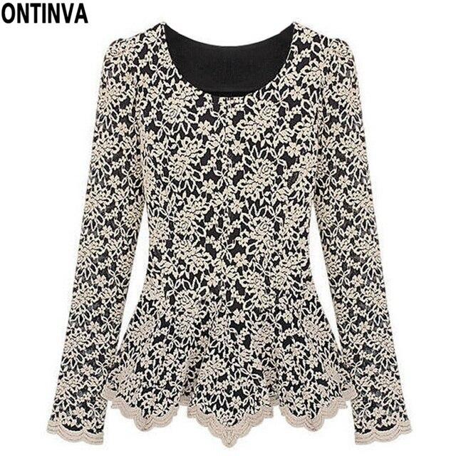 65c492e88d2 3XL XXL Plus Size Women Blouse Lace Vintage Patchwork Tops Ruffle Shirt  Blusas Femininas 2018 Formal Work Wear Ladies Blouses