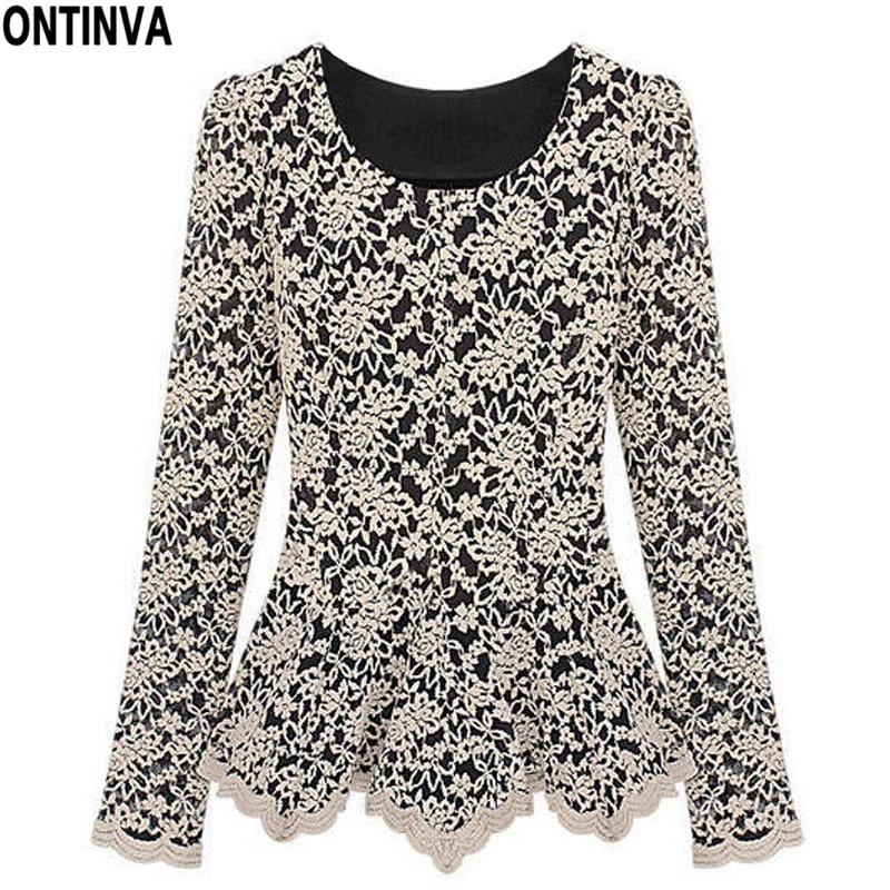 Xxxl xxl plus size women blouse lace vintage patchwork for Tops shirts and blouses