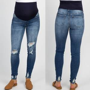 Jeans Trousers Legging Pregnancy-Clothes Nursing-Prop-Belly Ripped Maternity-Pants Plus-Size
