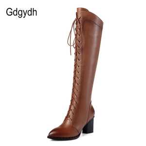 Image 2 - Gdgydh Spring Women Winter Knee High Boots Lacing Black Female Genuine Leather Boots Ladies Square High Heels Rubber Sole Shoes