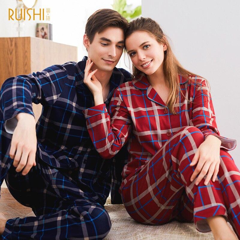 a99db7e60178 € 31.83 28% de DESCUENTO|J & P Pijama par Cardigan ropa Top de algodón de  manga larga hombres y mujeres Pijama de cuadros marca inicio Casual traje  de ...