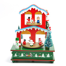 Cute Cartoon Colorful Rotating Wooden Jingle Bells Music Box Christmas Table Decoration New Year Party Christmas Kids Gift