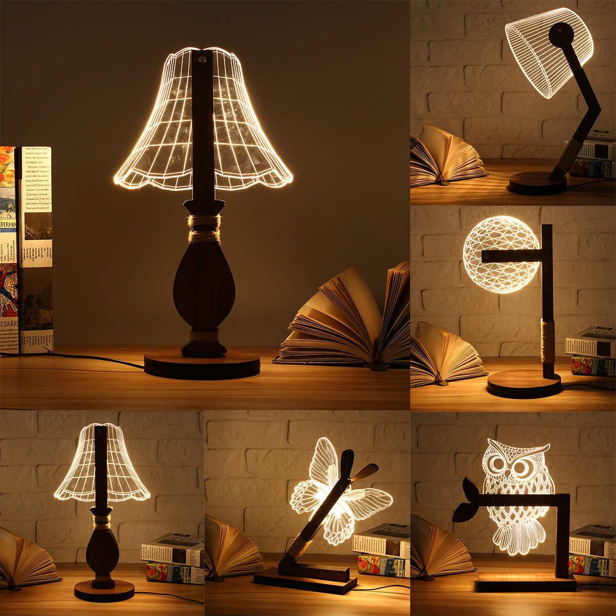 Wooden 3D Night Light USB LED Animal Butterfly OWL Warm Lighting Table Reading Lamps Bedroom Home Decor Birthday Gift