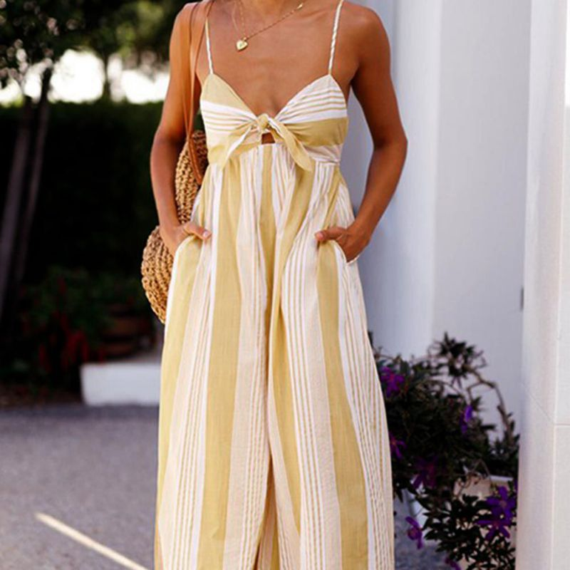 Women Elegant Ruffles Striped Jumpsuits Button Straps Wide Leg Rompers Ladies Summer Casual Outwear Playsuits