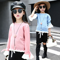 2016 Spring Autumn Korean Toddler Girls Ruffled Long Sleeve Decor Knitted O-neck Solid Blue/Pink Color Pullovers Lovely Sweaters