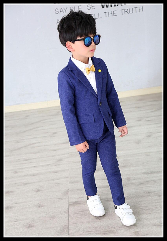 2018 Jungen Formelle Anzüge Für Hochzeiten England Stil Kind Junge Blau Party Smoking Jungen Formelle Anzüge Blazer + Hosen 2 Stücke Vertrieb Von QualitäTssicherung