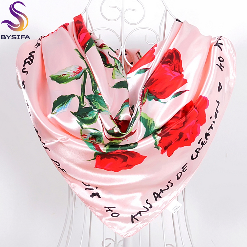 Roses Letters Large Square Mufflers Scarves For Ladies Spring Autumn All-Match Ladies Silk Scarf 90*90cm White,Black,Navy Blue