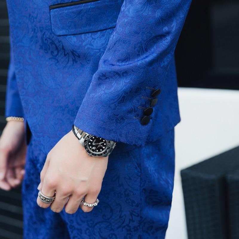 Nouvelle Gilets S Hôtes 5xl Chanteurs tops Costumes Imprimer Taille Mode Pantalon Slim Étape Jeunesse De Grand Fleur Vestes Hommes T5Cgv6wqx5