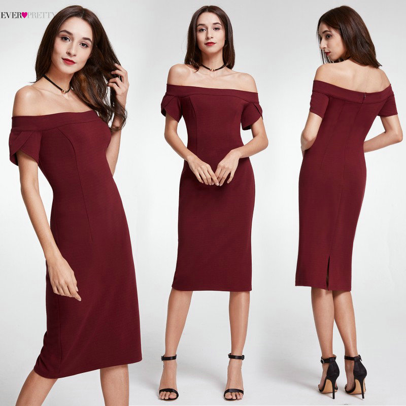 Hot Sale Burgundy Cocktail Dresses 2019 Ever-Pretty Brand EP05968BD Tea Length Off The Shoulder Party Dresses Elegant Women(China)