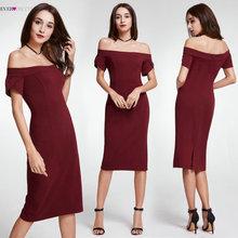 Vente chaude Bourgogne robes de cocktail 2018 toujours jolie marque EP05968BD thé longueur de l'épaule robes de soirée élégante femmes