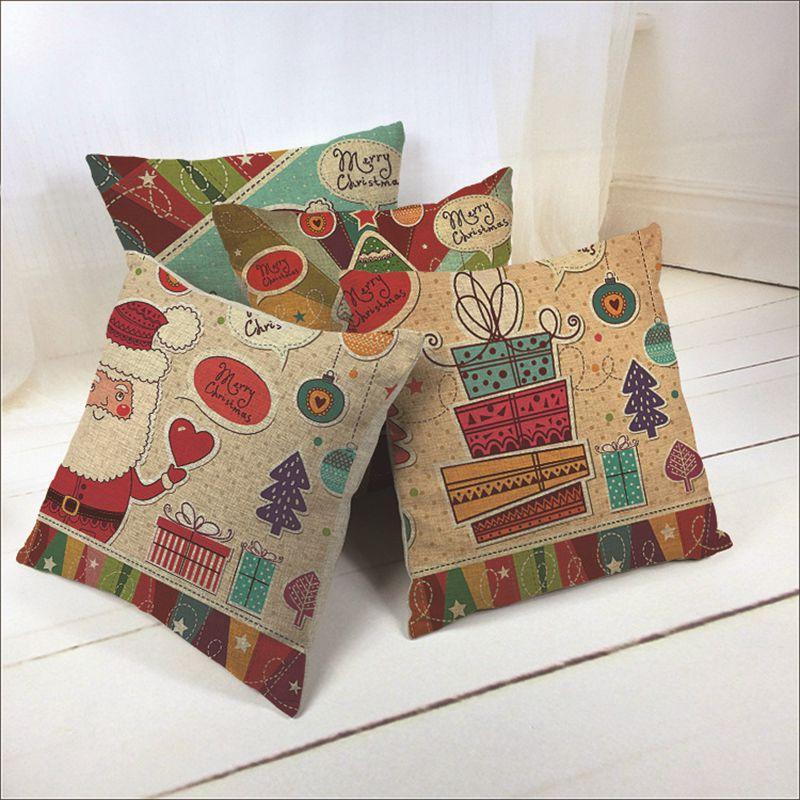 Christmas Decorative Cushion Cover Throw Pillow Case For Sofa Bed Square Santa Claus Cotton Linen 45cm Capas De Almofada