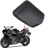 Black Seat Cover Vintage Leather Motorcycle Rear Passenger Seat Cushion Pillion MTB For Yamaha R1 R104 2004 2005 2006 Cafe Racer