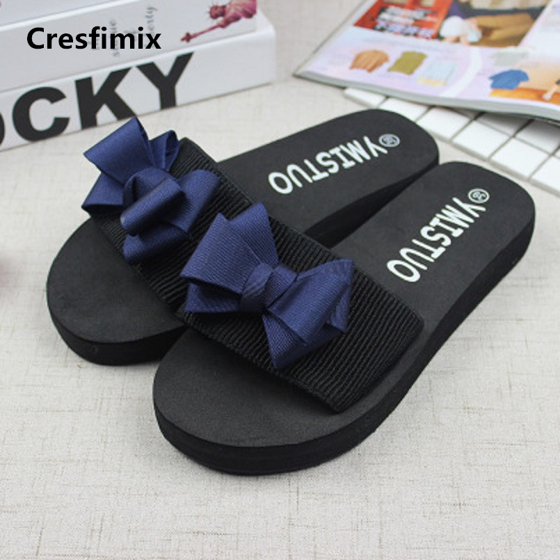 Cresfimix women fashion comfortable 3cm eva slippers lady cute spring & summer soft slippers female black bow tie slides a379