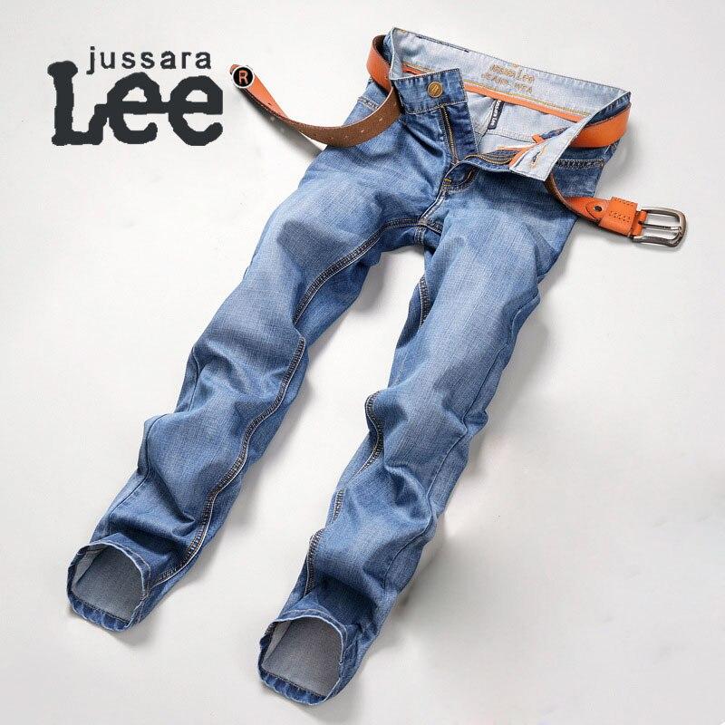 Jussara-Lee Simple Mens Jeans Brand Denim Pants Men Straight Slim Jeans Pant Men Cotton Jeans Homme 2092#