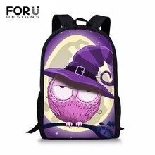 FORUDESIGNS Students Children Backpack Cute Cat & Cool Owl Women Shoulder Laptop Kawaii Large Capacity Travel