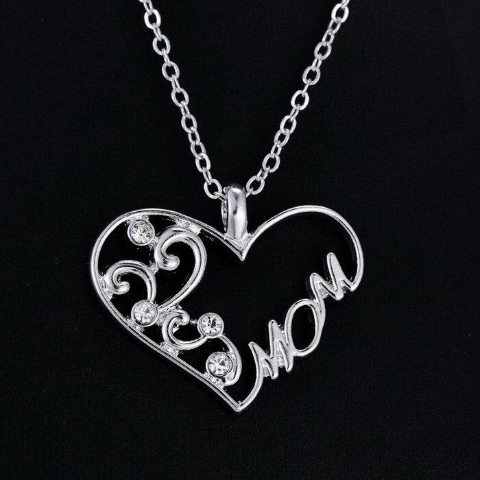 3600019527c52 جديد أمي سحر فضة كريستال سلسلة القلب قلادة قلادة الحب عيد الأم هدية الأزياء  والمجوهرات ل أمي
