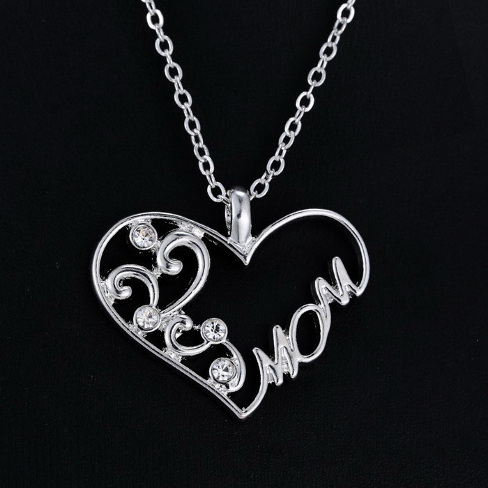 New Mom Charm Silver Crystal Chain Heart Pendant Necklace Love Mothers Day Gift Fashion Jewelry for Mum ...
