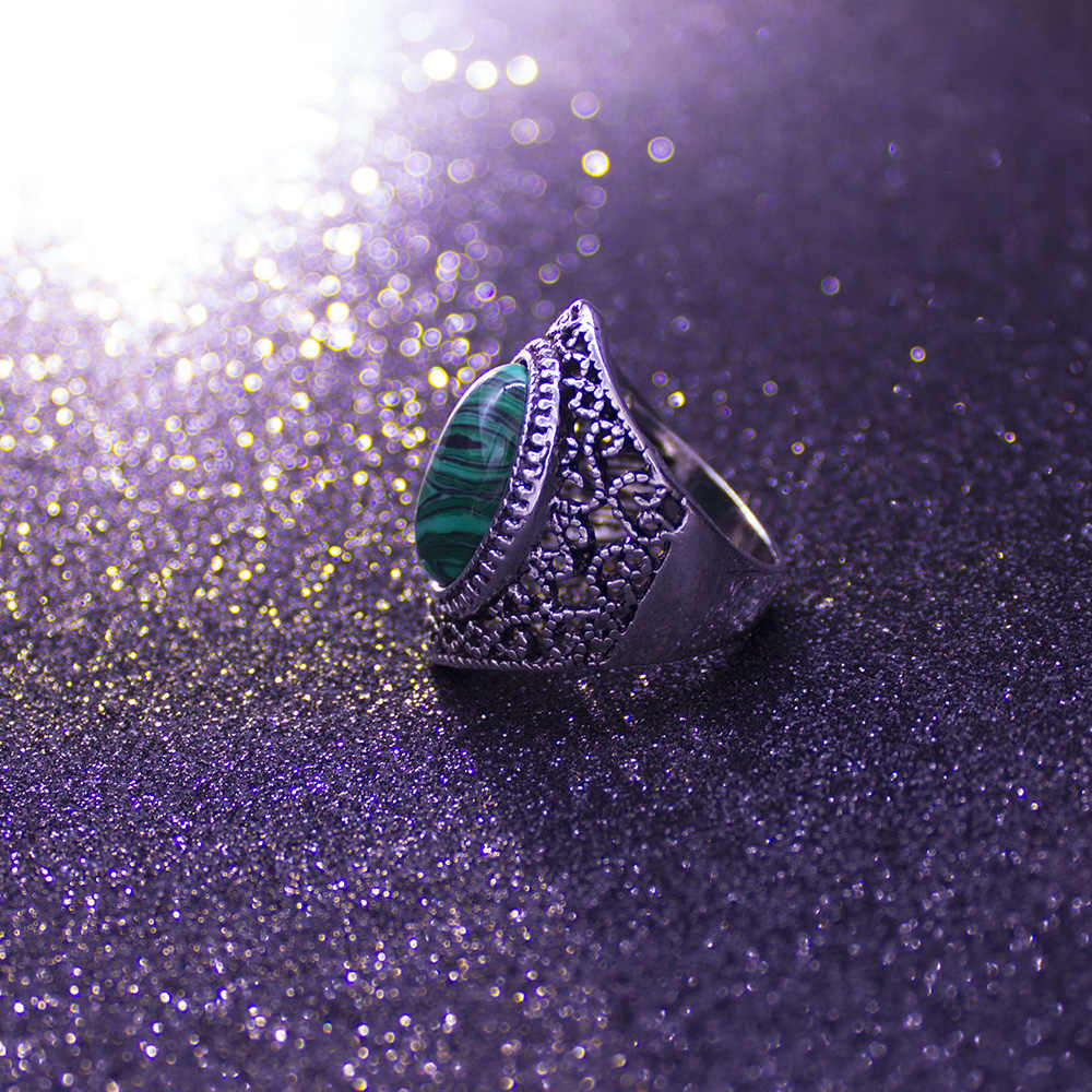 Bohemian Vintage หินแหวนผู้หญิงคุณภาพสูงแฟชั่นเงินสีบิ๊กหญิงครบรอบชุดแต่งงานแหวนเครื่องประดับ