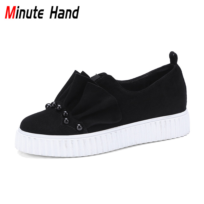 Minute Hand Fashion Genuine Leather Kid Suede Ladies Creepers Platform Shoes Ruffle Pearl Flat Loafers Casual Sneakers For Women nayiduyun women genuine leather wedge high heel pumps platform creepers round toe slip on casual shoes boots wedge sneakers