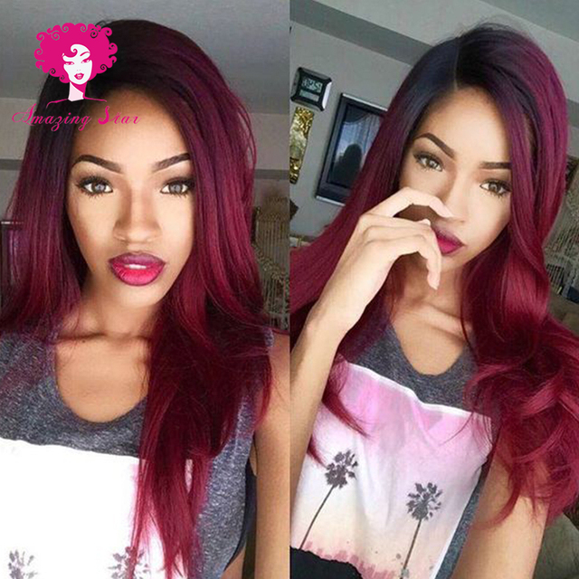 Ombre Brazilian Straight Hair Red Weave Hair 3 Bundles T1b99j