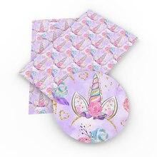 David accesorios unicornio Animal Faux cuero sintético tela, DIY ropa Knotbow bolsos decoración artesanías, 1Yc3737