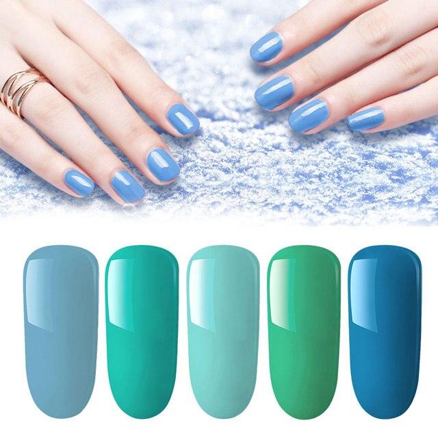 Série Azul da Cor Gel Polonês Kits 8 Lghzlink ML Puro Gel Cor Das Unhas Laca Soak Off UV LED híbrido Prego verniz Manicure Set