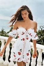 2019 Fashion Women Floral Print Sexy Dress Holiday Lace Up Ruffles Mini Dress Strapless Slash Neck Beach Dress недорго, оригинальная цена