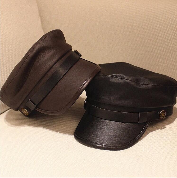 Xongkoro Véritable En Cuir Militaire Chapeau Garçons Filles Marine Bouchon Vieux Chapeau De Mode Visières Noir Couleur Pour Hommes Femmes
